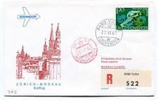 FFC 1967 Swissair Club First Flight Zurich Moskau REGISTERED Moskva UdSSR