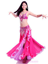 New Belly Dance Costume 3 Pics Bra&Belt&Skirt 34B/C 36B/C 38B/C 40B/C 7 Colors