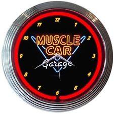 "Muscle Car Garage Neon Clock 15""x15"""