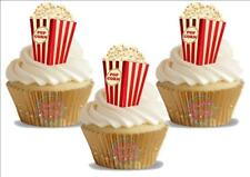 12 Novelty Popcorn NEW Edible Cupcake Cake Toppers Decorations Cinema Fairground