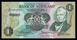 """Scotland: Bank of Scotland 1-11-1972 £1 """"1ST DATE FOR SIGS"""". P111b UNC Cat $75"""