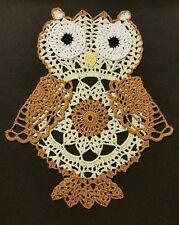Hooty Owl Crochet Doily - Antique White