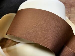 "Vintage Grosgrain Trim 3"" Petersham 76mm Silk Cotton Pinto Brown 1yd Made in USA"