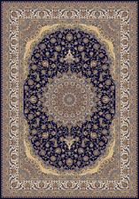 7x10 Navy Blue Tabriz High density Machine Weave 900 KPSI Qum Bamboo Silk Rug