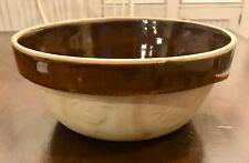 """Vtg Country Farmhouse Stoneware Yellow/ Brown Glaze 10"""" Mixing Bowl"""