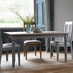 Frank Hudson Gallery Direct Cookham Extending Oak Top Dining Table Painted Grey