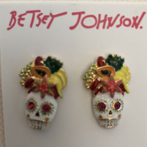 Betsey Johnson White Rio Sugar Skull Fruit Stud Earrings With Crystals NWT