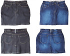Womens Ladies Denim Jean Short Stretch Dark & Black Wash Mini Skirt 8-18