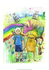 Adventure Time by Lora Zombie Art Print Poster - Child Dog Unicorn Fantasy 14x20