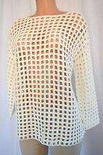AKRIS OFF WHITE CROCHET CREW NECK TUNIC TOP SIZE 38