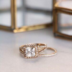 1.85 Ct Diamond Engagement Band Set Princess Cut 18k Real Rose Gold Size 4 5 6