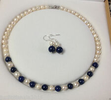 Natural 7-8mm White Akoya Cultured Pearl/8mm Lapis Lazuli Necklace Earring A Set