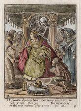 HOLBEIN 1816 Dance of Death Color Engraving EMPEROR Original HOLLAR Framed COA