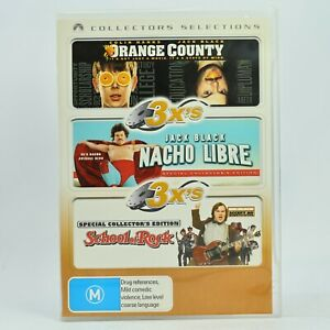 Orange County / Nacho Libre / School Of Rock 3-Disc DVD GC Free Post