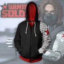 Winter Soldier Hoodie Full-Zip Hooded Sweatshirt Unisex Casual Jacket Coat Tops