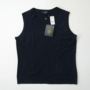 NWT Brooks Brothers Golden Fleece Saxxon Wool Shell in Navy Blue Sweater L