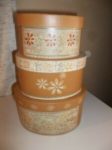 VTG HEARTHSIDE COLLECTION SET OF 3 PAPER MACHE NESTING BOXES OVAL COUNTRY