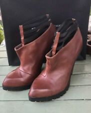 KG Kurt Geiger Saucy court boots brown leather high heels UK 8 EUR 41 RRP £140