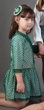 - Manolita grün Mesh Polka Dot Drop Taille Winter Kleid spanischer Kleidung