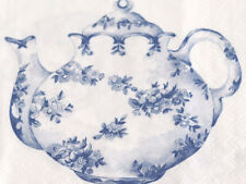 Napkins Serviettes x20 Blue & White Teapot Teacups 33x33cm High Tea Party
