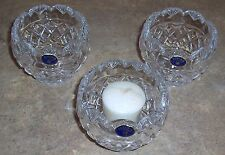 Bohemia Czech Republic Lead Crystal Candle Holders, Set Of 3 - New!