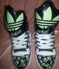 Adidas Jeremy Scott womens shoes Size 7 Green & Black High tops