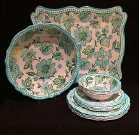 Cynthia Rowley Melamine Aqua & White Floral Dinnerware DELUXE 14 Piece Set (New)