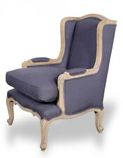 French Provincial  Black Hamptons country Vintage upholstered arm chair