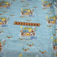 Noah's Ark Baby Blue Cotton Fabric  By Yard