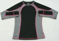 Cabela's Black Gray & Pink Crewneck Tee T-Shirt Top Long Sleeve Medium Womans
