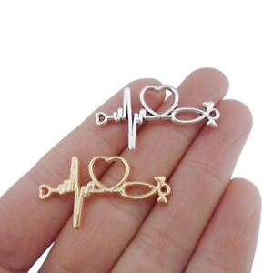 10 x Silver/Gold Tone Stethoscope Heartbeat Connector Charms 2 Sided 34x19mm