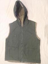 Fashion Bug Vintage Women's Reversible Hooded Vest Small Green White Plaid Zip