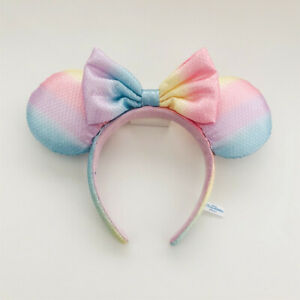 Rare Tokyo Disney Resort Mickey Mouse Minnie Ears Rainbow Sequins Bow Headband