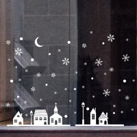 Christmas Shop Window Decoration PVC Wall Stickers Christmas Snowflakes Town