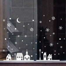 Christmas Shop Window Decoration PVC Wall Stickers Christmas Snowflakes Town US