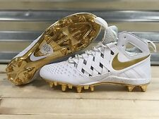 Nike Huarache 5 Lacrosse Cleats White Metallic Gold Chrome SZ 16 ( 807142-170 )