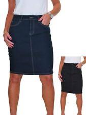 Ladies Stretch Denim Above Knee Jeans Skirt Smooth Wash 10-20