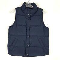 J Crew Puffer Vest Jacket womens S Navy Blue Down Filled Full Zip Warm Pockets