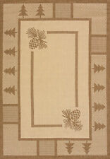 Brown Trees Acorns Lines Boxes Cottage Area Rug Bordered 101-40650