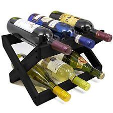 Countertop Collapsible Wood Wine Rack 6-bottles (Matte Black)