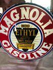 """Magnolia Gas Pump Globe Light Vintage Glass 16 1/2"""" Lens Service Station Garage"""