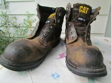 CAT BRAND MENS SIZE 14 BROWN STEEL TOE LACE UP WORK BOOTS