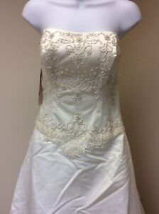 NWT New Alfred Angelo Wedding Dress Gown Strapless, Cream Size 8