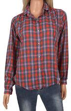 Vtg Red Tartan Plaid Rockabilly Shirt Blouse Nantucket Long Sleeve Button Front