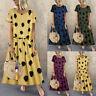 Plus Size Women's Casual Polka Dot Printed O-Neck Short Sleeve Maxi Long Dress