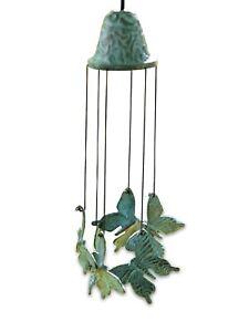 Windspiel Bronze  Gartenfigur Bronzefigur Gartendeko Klangspiel SCHMETTERLINGE