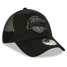 NEW ERA LOS ANGELES LAKERS TRUCKER CAP.9FORTY A FRAME BLACK SNAP BASEBALL HAT C1