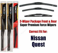 Wiper Blades Trico 3-Pack Front/Rear fits 2011+ Nissan Quest - 25260/190/12b
