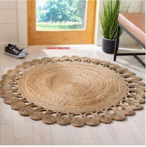 Rug 100% Natural Jute Handmade Braided Style Rug Reversible Rustic Look Rug
