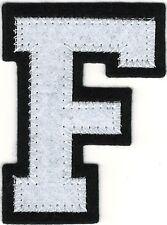 "1 7/8"" x 2 1/2"" White Black Block Letterman's Letter F Felt Patch"
